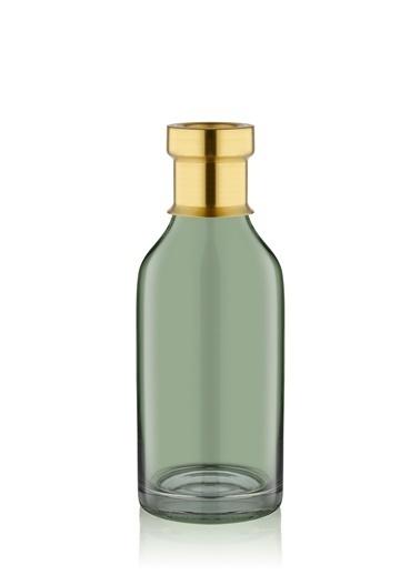The Mia Cam Vazo Yeşil Gold Dekorlu 23*8 Cm Altın